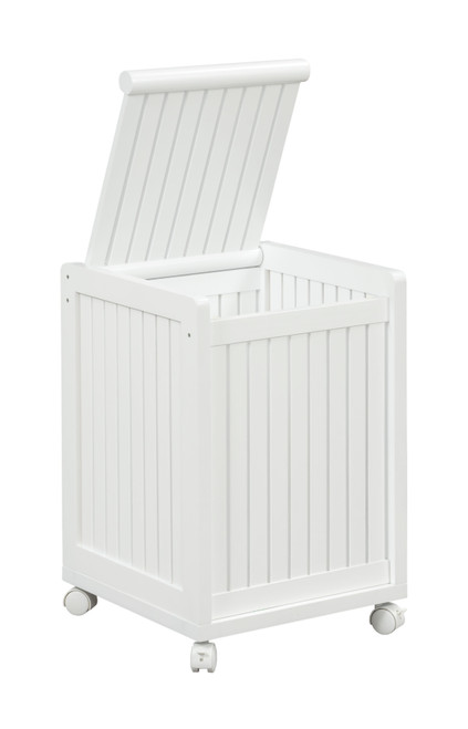 NEWRIDGE HOME 2214-WHT Solid Wood Abingdon Mobile (Rolling) Laundry Hamper with Lid