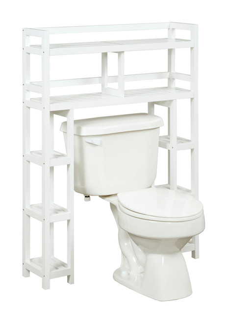 NEWRIDGE HOME 2029-WHT Solid Wood Dunnsville 2-Tier Space Saver with Side Storage for your Bathroom