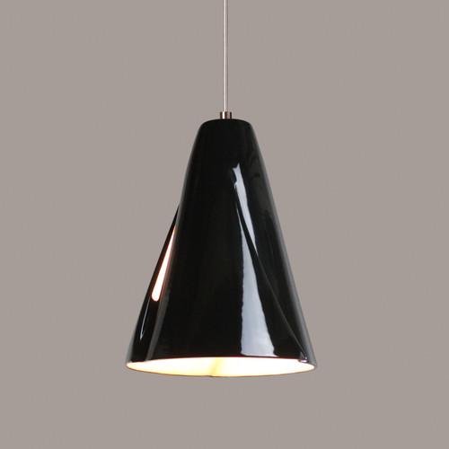 A19 Lighting LVMP05-BG 1-Light Whirl Low Voltage Mini Pendant Black Gloss