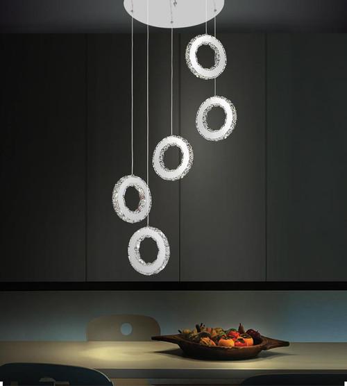 CWI LIGHTING 5417P20ST-R LED Multi Light Pendant with Chrome finish