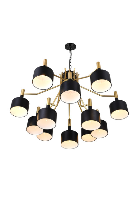 CWI LIGHTING 1017P32-12-129-A 12 Light Down Chandelier with Matte Black & Satin Gold finish