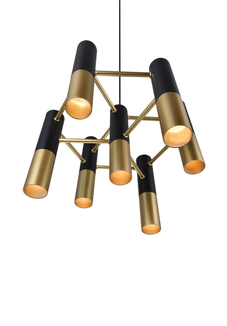 CWI LIGHTING 1015P17-7-129 7 Light Down Chandelier with Matte Black & Satin Gold finish