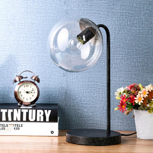 WAREHOUSE OF TIFFANY'S T-171280 Wolbey 7.09 in. 1-Light Indoor Black Finish Desk Lamp with Light Kit