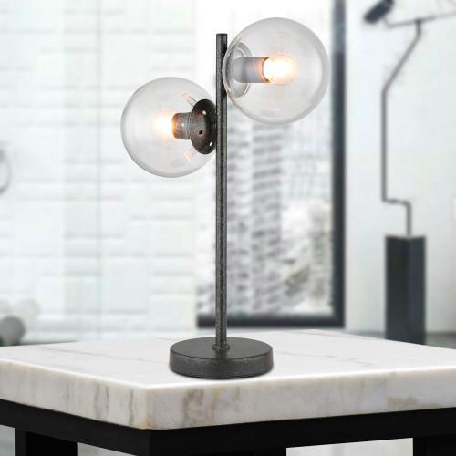 WAREHOUSE OF TIFFANY'S T-171281 Duodot 13.78 in. 2-Light Indoor Black Finish Desk Lamp with Light Kit