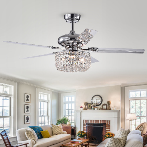 WAREHOUSE OF TIFFANY'S CFL-8110REMO/CHA Silver 49.2 in. 3-Light Indoor Chrome Finish Remote Controlled Ceiling Fan with Light Kit