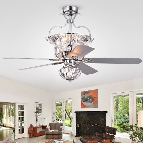 WAREHOUSE OF TIFFANY'S CFL-8154REMO/CCH Charla 52 in. 4-Light Indoor Chrome Finish Remote Controlled Ceiling Fan with Light Kit
