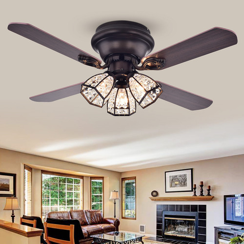 WAREHOUSE OF TIFFANY'S CFL-8173REMO/AB Tarudor 42 in. 3-Light Indoor Bronze Finish Remote Controlled Ceiling Fan with Light Kit