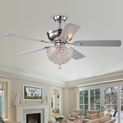 WAREHOUSE OF TIFFANY'S CFL-8176REMO/CHA Swarna 52 in. 3-Light Indoor Chrome Finish Remote Controlled Ceiling Fan with Light Kit