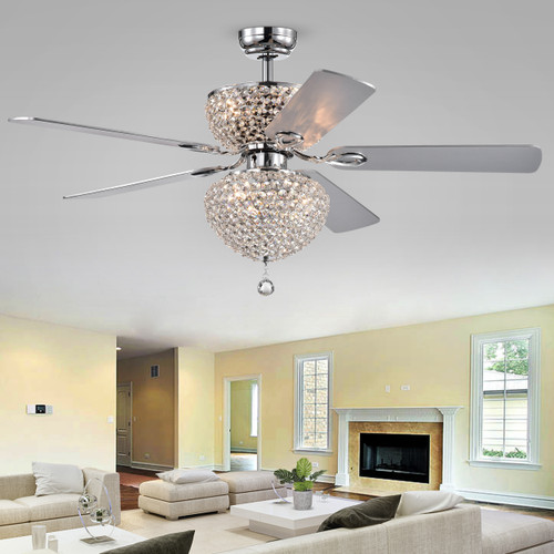 WAREHOUSE OF TIFFANY'S CFL-8176REMO/CHD Swarana 52 in. 6-Light Indoor Chrome Finish Remote Controlled Ceiling Fan with Light Kit