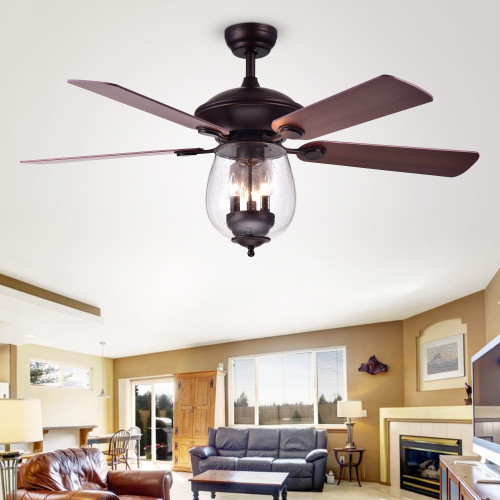 WAREHOUSE OF TIFFANY'S CFL-8205REMO/ORB Tibwald 52 in. 3-Light Indoor Bronze Finish Remote Controlled Ceiling Fan with Light Kit