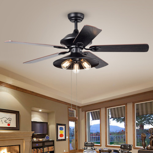 WAREHOUSE OF TIFFANY'S CFL-8308 Upille 52 in. 3-Light Indoor Black Finish Remote Controlled Ceiling Fan with Light Kit