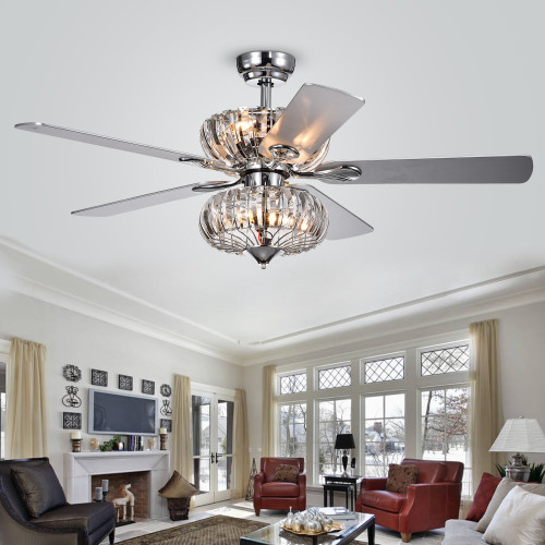WAREHOUSE OF TIFFANY'S CFL-8315CH Kyana 52 in. 6-Light Indoor Chrome Finish Remote Controlled Ceiling Fan with Light Kit
