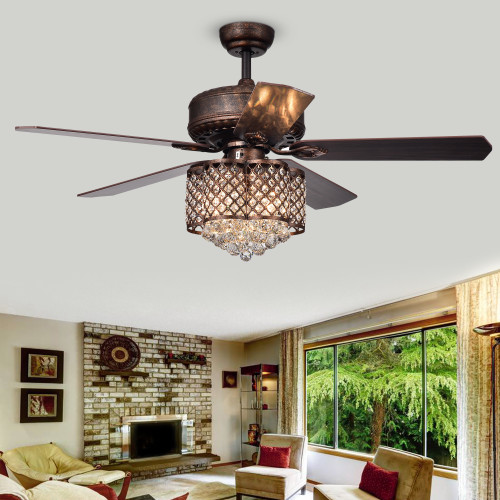 WAREHOUSE OF TIFFANY'S CFL-8316REMO/RB Pshita 52 in. 3-Light Indoor Bronze Finish Remote Controlled Ceiling Fan with Light Kit