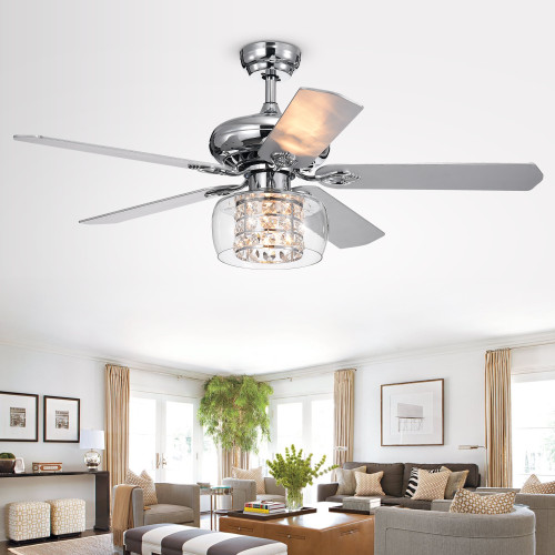WAREHOUSE OF TIFFANY'S CFL-8344REMO Cayten 52 in. 1-Light Indoor Chrome Finish Remote Controlled Ceiling Fan with Light Kit