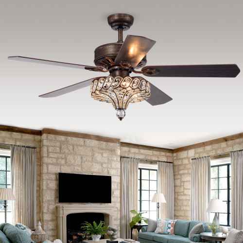 WAREHOUSE OF TIFFANY'S CFL-8352REMO/RB Pilette 52 in. 3-Light Indoor Bronze Finish Remote Controlled Ceiling Fan with Light Kit