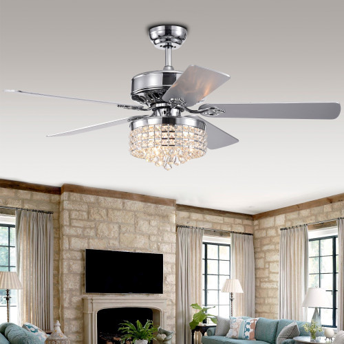 WAREHOUSE OF TIFFANY'S CFL-8358REMO/CH Letta 52 in. 3-Light Indoor Chrome Finish Remote Controlled Ceiling Fan with Light Kit
