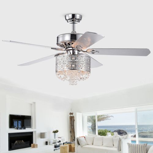 WAREHOUSE OF TIFFANY'S CFL-8359REMO/CH Silver 52 in. 3-Light Indoor Chrome Finish Remote Controlled Ceiling Fan with Light Kit