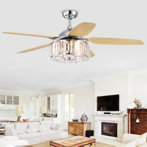 WAREHOUSE OF TIFFANY'S CFL-8360REMO/CH Sekspil 52 in. 3-Light Indoor Chrome Finish Remote Controlled Ceiling Fan with Light Kit