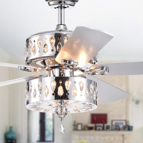 WAREHOUSE OF TIFFANY'S CFL-8361REMO/CH Ticuna 52 in. 6-Light Indoor Chrome Finish Remote Controlled Ceiling Fan with Light Kit