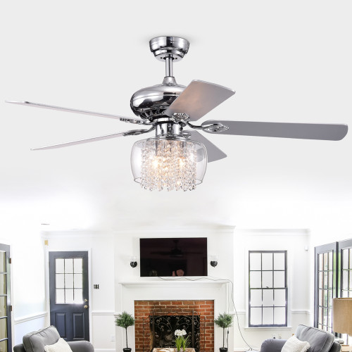 WAREHOUSE OF TIFFANY'S CFL-8362REMO/CH Ennie 52 in. 3-Light Indoor Chrome Finish Remote Controlled Ceiling Fan with Light Kit