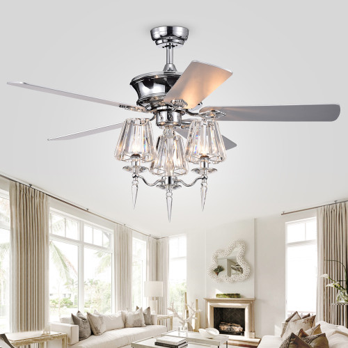 WAREHOUSE OF TIFFANY'S CFL-8363REMO/CH Onwen 52 in. 3-Light Indoor Chrome Finish Remote Controlled Ceiling Fan with Light Kit