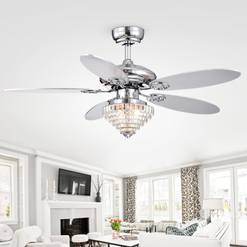 WAREHOUSE OF TIFFANY'S CFL-8367REMO/CH Kostenets 43.7 in. 2-Light Indoor Chrome Finish Remote Controlled Ceiling Fan with Light Kit
