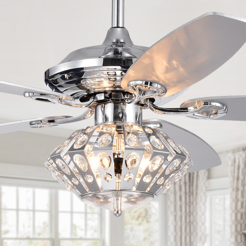WAREHOUSE OF TIFFANY'S CFL-8368REMO/CH Extrelite 52 in. 3-Light Indoor Chrome Finish Remote Controlled Ceiling Fan with Light Kit