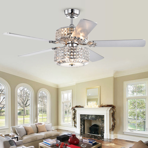 WAREHOUSE OF TIFFANY'S CFL-8372REMO/CHD Walter 52 in. 6-Light Indoor Chrome Finish Remote Controlled Ceiling Fan with Light Kit