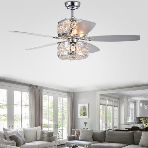 WAREHOUSE OF TIFFANY'S CFL-8376REMO/CH Velko 52 in. 6-Light Indoor Chrome Finish Remote Controlled Ceiling Fan with Light Kit