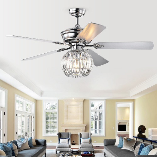 WAREHOUSE OF TIFFANY'S CFL-8388REMO/C Dalinger 52 in. 1-Light Indoor Chrome Finish Remote Controlled Ceiling Fan with Light Kit