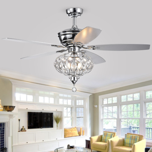 WAREHOUSE OF TIFFANY'S CFL-8391REMO/CH Silver 52 in. 3-Light Indoor Chrome Finish Remote Controlled Ceiling Fan with Light Kit