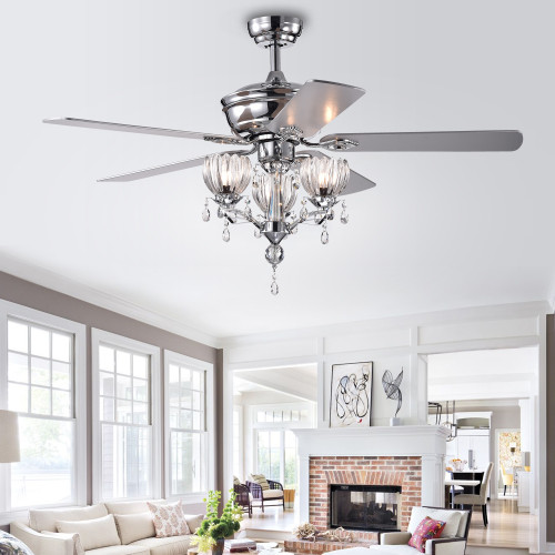 WAREHOUSE OF TIFFANY'S CFL-8394REMO/CH Silver 52 in. 3-Light Indoor Chrome Finish Remote Controlled Ceiling Fan with Light Kit