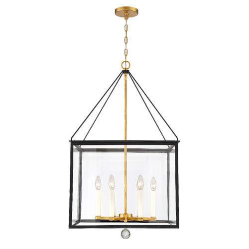 CRYSTORAMA WES-9908-BK-GA Weston 6 Light Black & Antique Gold Lantern