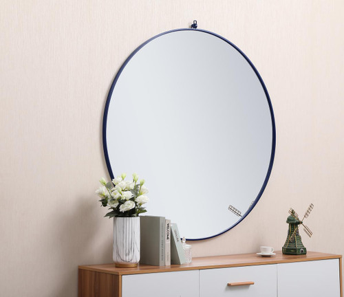 ELEGANT DECOR MR4067BL Metal frame round mirror with decorative hook 48 inch Blue