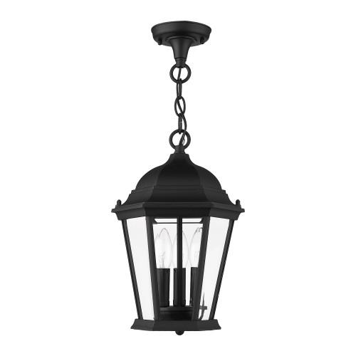 LIVEX LIGHTING 7564-14 Hamilton 3 Lt Textured Black Outdoor Pendant Lantern