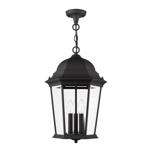 LIVEX LIGHTING 7569-14 Hamilton 3 Lt Textured Black Outdoor Pendant Lantern