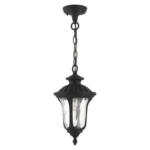 LIVEX LIGHTING 7849-14 Oxford 1 Lt Textured Black Outdoor Pendant Lantern