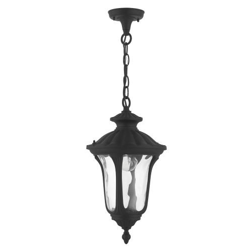 LIVEX LIGHTING 7854-14 Oxford 1 Lt Textured Black Outdoor Pendant Lantern