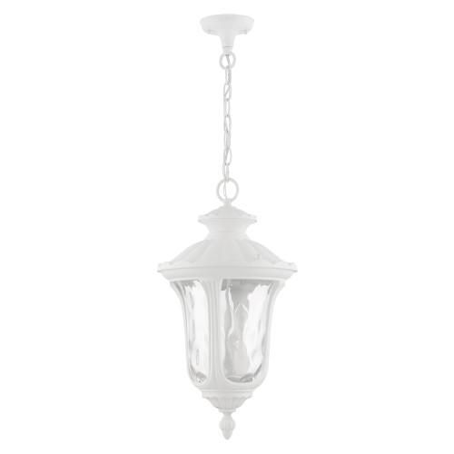 LIVEX LIGHTING 7858-13 Oxford 3 Lt Textured White Outdoor Pendant Lantern
