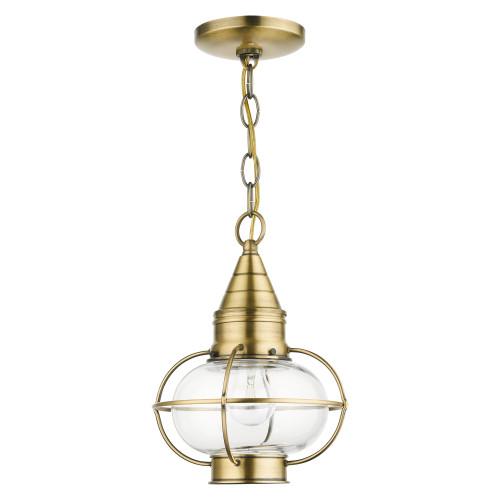 LIVEX LIGHTING 26910-01 Newburyport 1 Lt Antique Brass Outdoor Pendant Lantern