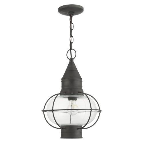 LIVEX LIGHTING 26906-61 Newburyport 1 Lt Charcoal Outdoor Pendant Lantern