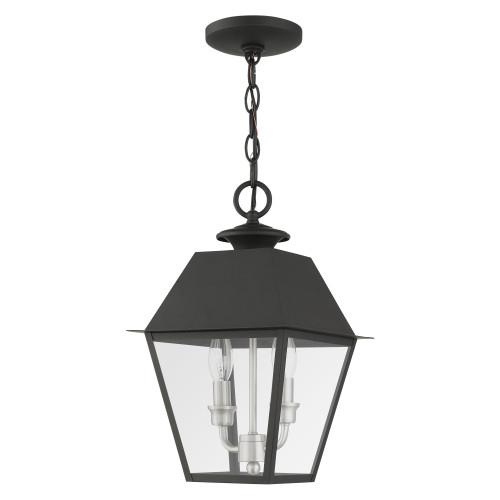LIVEX LIGHTING 27217-04 Mansfield 2 Lt Black Outdoor Pendant Lantern