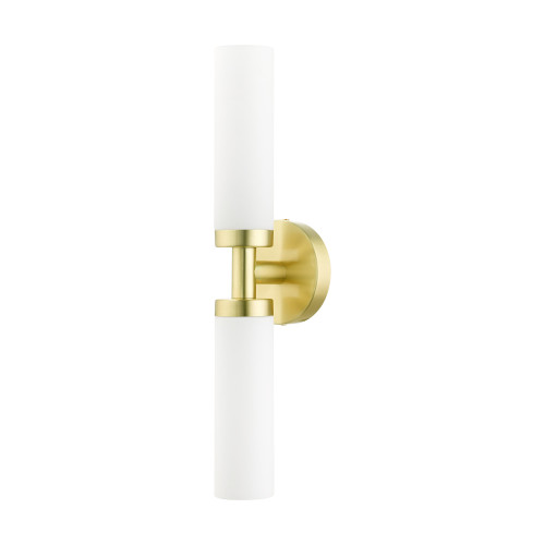 LIVEX LIGHTING 10104-12 Aero 2 Lt Satin Brass ADA Vanity Sconce