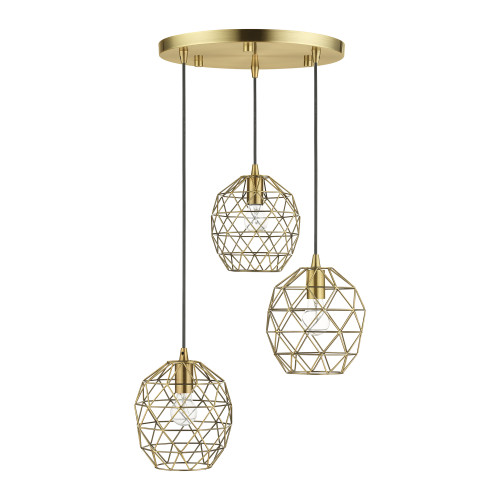 LIVEX LIGHTING 46593-01 Geometrix 3 Lt Antique Brass Pendant