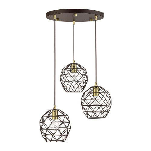 LIVEX LIGHTING 46593-07 Geometrix 3 Lt Bronze Pendant