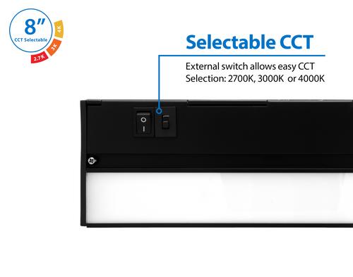 NICOR NUC508SBK NUC-5 Series 8-inch Black Selectable LED Under Cabinet Light