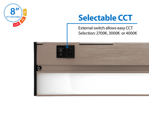 NICOR NUC508SNK NUC-5 Series 8-inch Nickel Selectable LED Under Cabinet Light