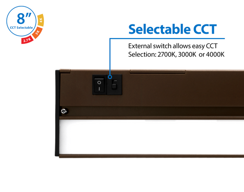 NICOR NUC508SOB NUC-5 Series 8-inch Oil Rubbed Bronze Selectable LED Under Cabinet Light