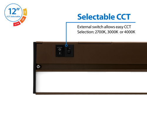 NICOR NUC512SOB NUC-5 Series 12.5-inch Oil Rubbed Bronze Selectable LED Under Cabinet Light