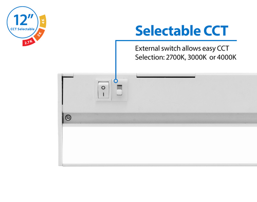 NICOR NUC512SWH NUC-5 Series 12.5-inch White Selectable LED Under Cabinet Light